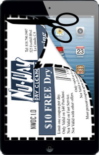 Step 1 of printing coupons off of smartphone or tablet